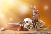 Themis in spotlight, law concept. — Stockfoto