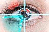Close-up woman eye with laser medicine. — Stok fotoğraf