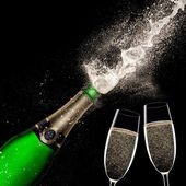 Champagne explosion on black background — Foto de Stock