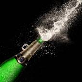 Champagne explosion on black background — Foto Stock