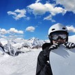 Snowboarder in high mountains — Stock Photo #59484221
