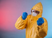 Scientist with protective suit, ebola concept. — Stock Photo
