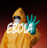 Scientist with protective suit, ebola concept. — Foto Stock