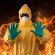 Scientist with protective yellow suit — Stock Photo #61876107