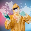 Scientist with protective yellow suit — Stock Photo #61876151