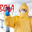Scientist with protective suit, ebola concept. — Stock Photo #61877291