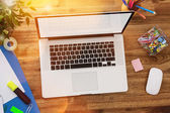 Office workplace with wooden desk. — Foto de Stock