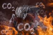 Coal lumps on dark background — Stock Photo