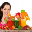 Young happy woman with Fresh fruit juice. — Stock Photo #70215599