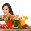 Young happy woman with Fresh fruit juice. — Stock Photo #70215615