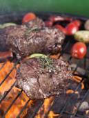 Beef steak on garden grill — Fotografia Stock