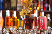 Can of Coca-Cola on bar desk. — Stock Photo