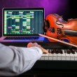 Man with piano keyboards. — Stock Photo #78417230