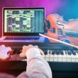 Man with piano keyboards. — Stock Photo #78417246