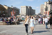 People in a holiday in the centre of Moscow — Stock Photo