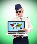 Stewardess holding laptop — Foto de Stock