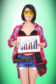 Girl holding clipboard with char — Foto de Stock