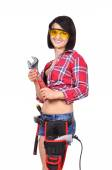 Girl with wrench — Stock Photo