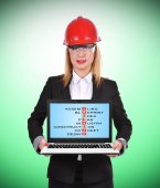 Woman engineer holding pc — Stock Photo