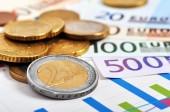 Notas e moedas de euro — Fotografia Stock