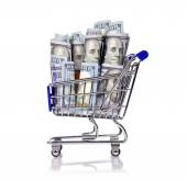 Carrinho de compras com dólar — Fotografia Stock