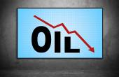 Falling oil chart — Stock Photo