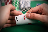 Poker player with two Aces — Stock Photo