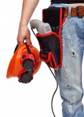 Worker with toolbelt and helme — Stock Photo