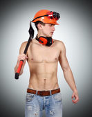 Worker man with ax — Stock Photo