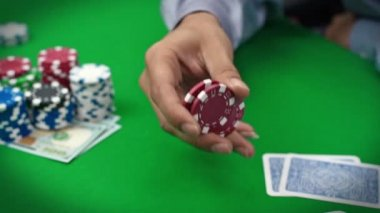 Poker player with chips — Stock Video
