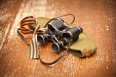Victory Day on May 9. Military binoculars, field cap, George Ribbon. retro Style. 70 Years of Victory — Stock Photo