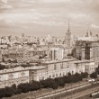 Moscow - city landscape, the historical part of the city, railroad in the foreground. Photo toned in sepia — Stock Photo #52817467
