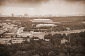 City of Moscow. Moscow River, Luzhniki sports complex. Photo toned in sepia — Stok fotoğraf