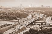 Moscow - city landscape, the Third Ring Road. Life of the big city. Photo toned in sepia — Stockfoto