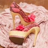 Fashionable shoes pink with pink flowers and a scarf. Stylized snake skin — Stockfoto