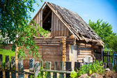 Old abandoned house from logs. Leaky, dilapidated roof — Stock Photo