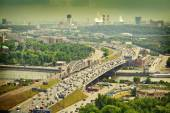 Moscow - city landscape. Road with cars at rush hour. The Third Ring Road. Life of the big city. Moscow river — Stock Photo