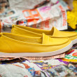 Fashionable women's summer shoes yellow. Light moccasins, sneakers. — Stock Photo #54758467