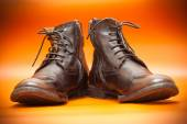 Fashion leather shoes on a bright background. Autumn - spring shoes brown. Men's high boots — Stock Photo