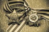 Order of the Red Star - Award WWII. George Ribbon. Victory Day - May 9 — Stock Photo