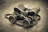 Old military binoculars vintage, retro style — Stock Photo