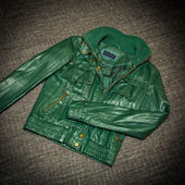 Fashionable leather jacket green — Stock Photo