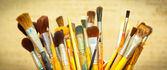 Brushes for drawing. panoramic shot — Stock Photo