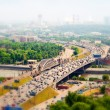Panorama of Moscow in the haze, Russia. Third Ring Road with cars, Moscow river. — Stock Photo #64916909