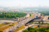 Panorama of Moscow in the haze, Russia. Third Ring Road with cars, Moscow river. — Stock Photo
