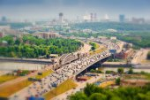 Downtown Moscow. Third Ring Road with cars, Moscow river. — Stock Photo