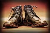 High leather boots stylized retro style — Stock Photo