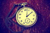 Antique vintage pocket watch on a chain — Fotografia Stock
