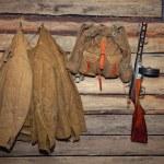 Jacket, backpack, machine gun - retro items WWII — Stock Photo #66867127