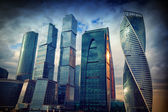 International business center Moscow-City in the evening at sunset, Moscow, Russia — Stock Photo